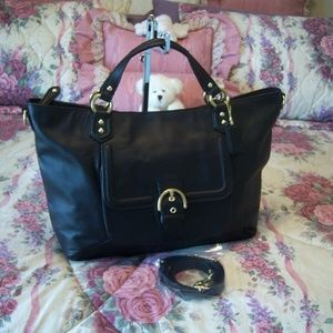 COACH BLACK LEATHER CAMPBELL IZZY HANDBAG NWOT
